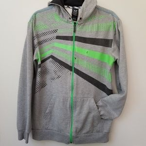 Shaun White Neon Striped Gray Zip Up Hoodie